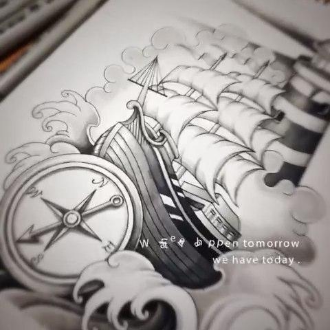 school大帆船~纹身手稿
