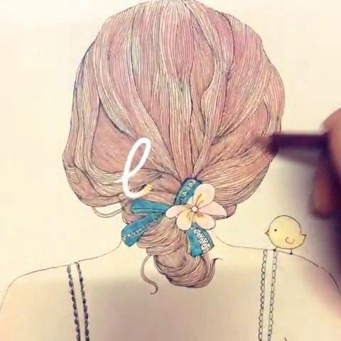 铅手绘背影插画