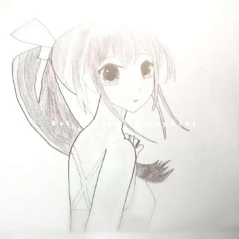 手绘少女素描画