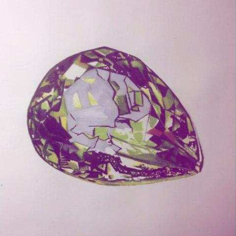 珠宝秀##宝石##美术##美术作品##手绘##手绘彩铅画
