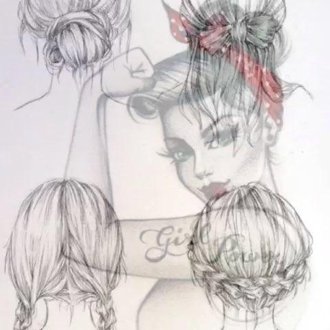 头发手绘设计图女