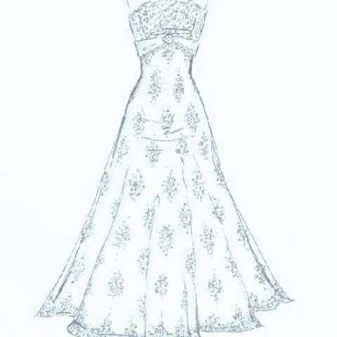 手绘婚纱设计图#漂亮的婚纱裙子