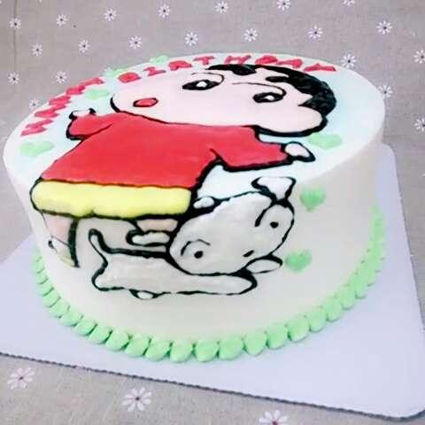 3d手绘蛋糕课#今天来自遥远贵州的学生制作的蜡笔小新 萌萌哒