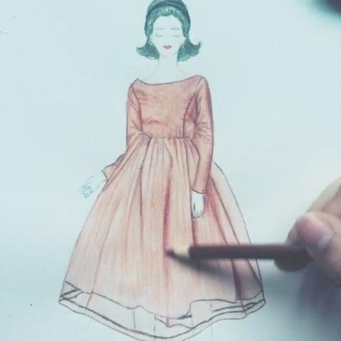 红色纱裙#手绘##手绘彩铅画##服装设计手绘# - jeong3