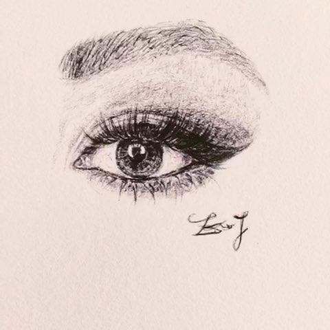 98#圆珠笔手绘##圆珠笔画##圆珠笔绘画##大眼睛长