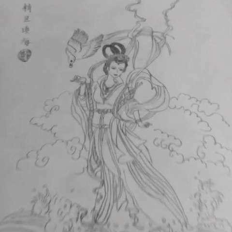 线描##手绘古代美女#