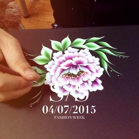 美甲排笔画,牡丹花