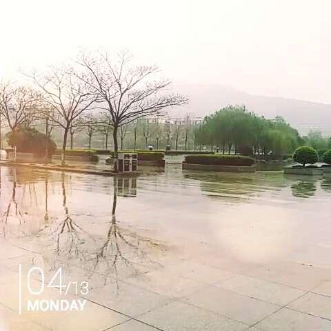 我不断掠晏 不打伞 悠然走在校园间图片