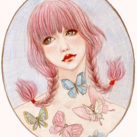 蝴蝶女孩#我的手绘插画##时尚插画##原创插画##我的