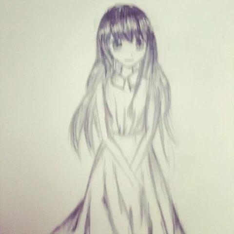 铅笔画:头发,裙子