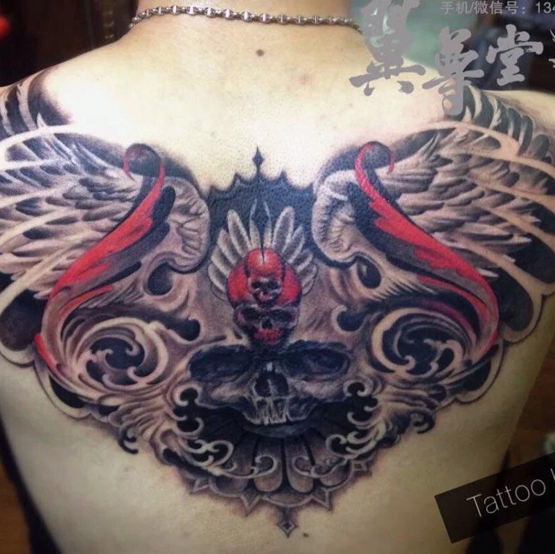 后背3d骷髅头-已完成 #纹身##深圳纹身##长沙纹身