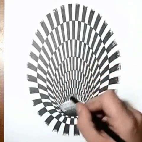 【孔伟导演美拍】3d视觉错觉画#逗比##创意手绘