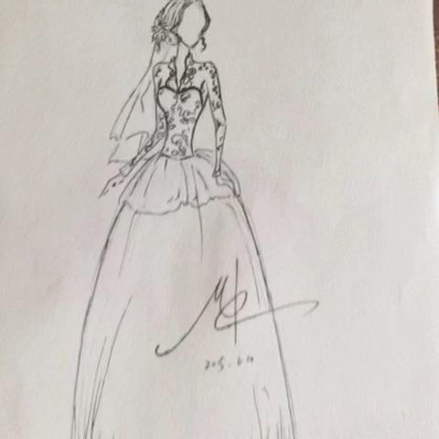 长裙设计图素描图片展示