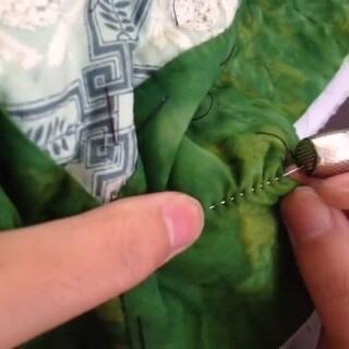 手缝摇针压线法