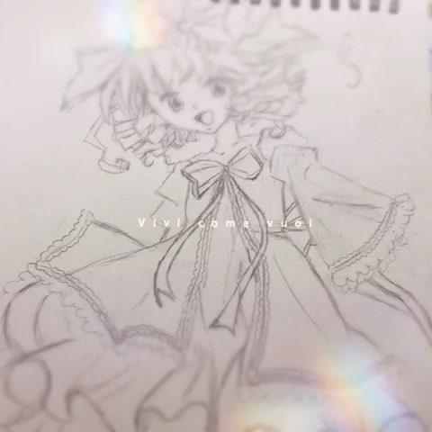 手绘二次元女生铅笔画