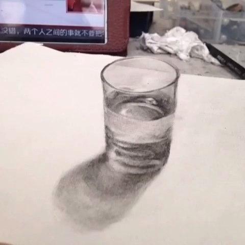 画的杯子#手绘##3d立体画##立体画##3d##杯子