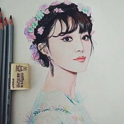 范冰冰花仙子—彩铅手绘