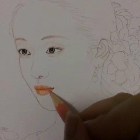 画画##手绘彩铅画##手绘古装美女##周末##晚安