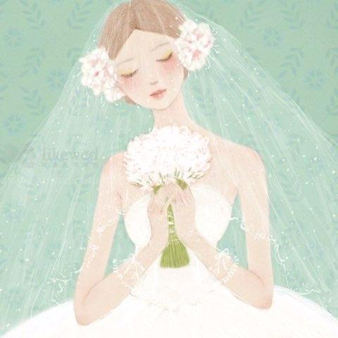 手绘插画#每个女孩都有自己的婚纱梦!#新娘##热门