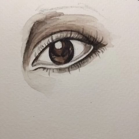 水彩手绘罗马式眼睛 很久米有画画啦~手都生了~水彩是猫头鹰的,略贵