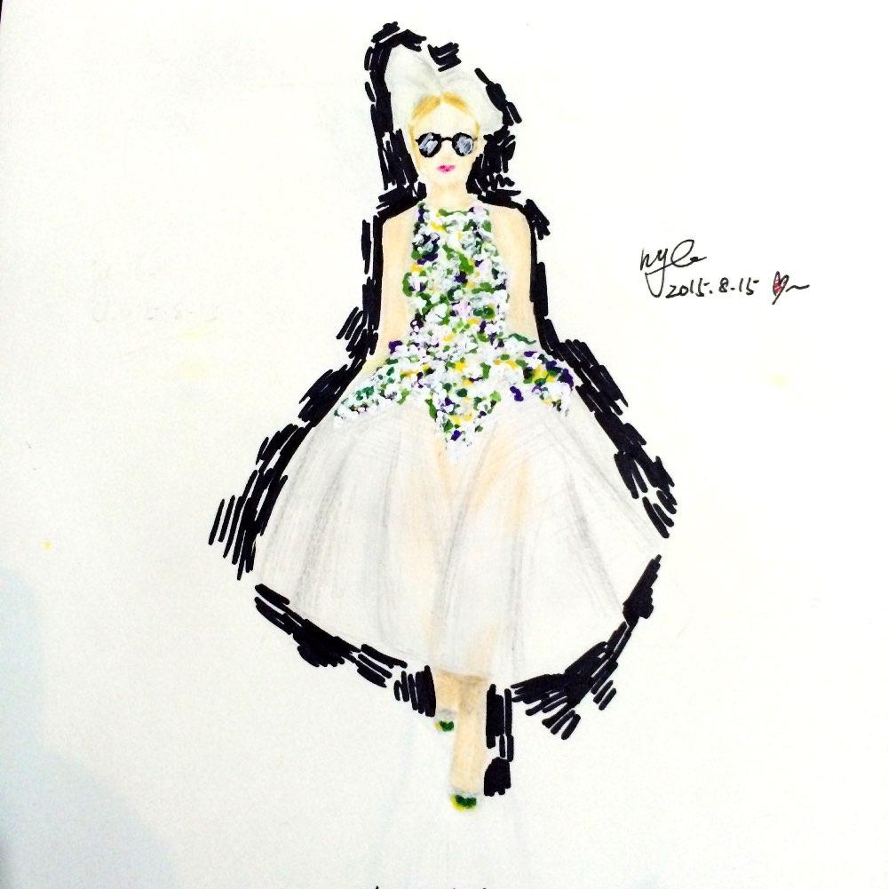 服装设计临摹,手绘#手绘##服装设计##临摹绘画##服装设计手绘