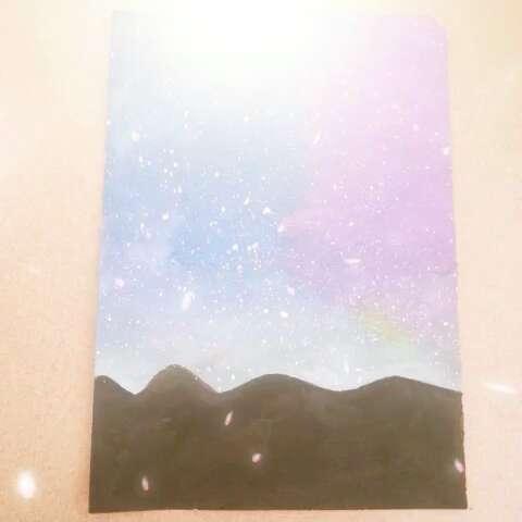 水粉画星空