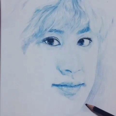 我的偶像exo##画画##手绘彩铅画##我要上热门##朴