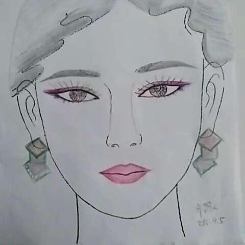 化妆美人图##铅笔手绘美人图##新娘跟妆手绘美人图