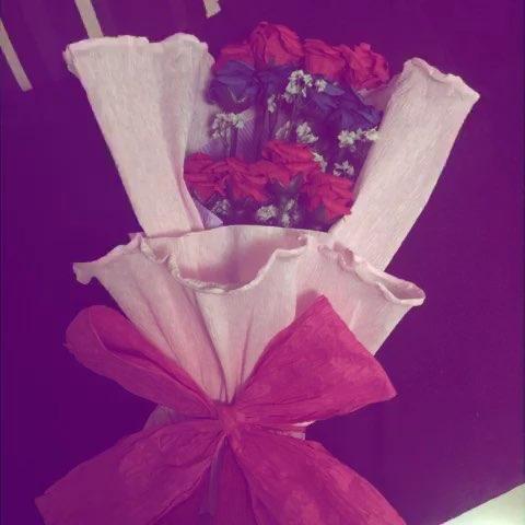 纸藤玫瑰花花束手工制作