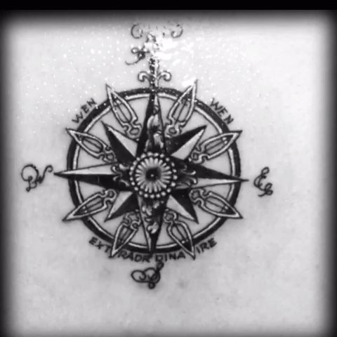 钟表纹身手稿图片
