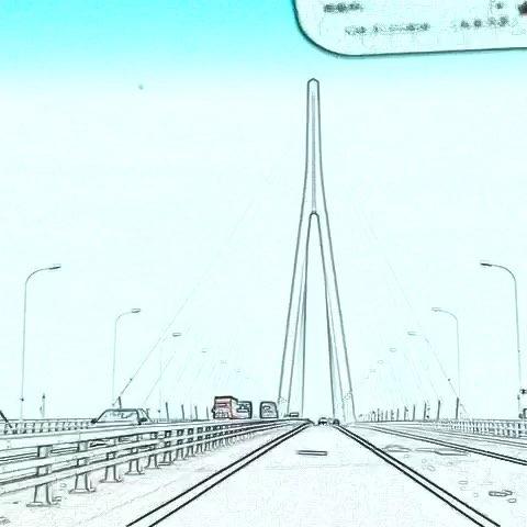苏通大桥变成卡通画
