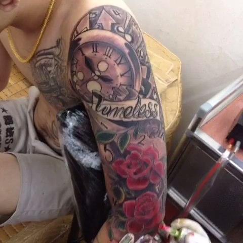 玫瑰时钟纹身手稿图片