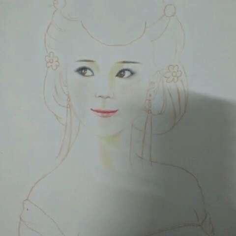 彩铅手绘古代美女#眼睛不够神
