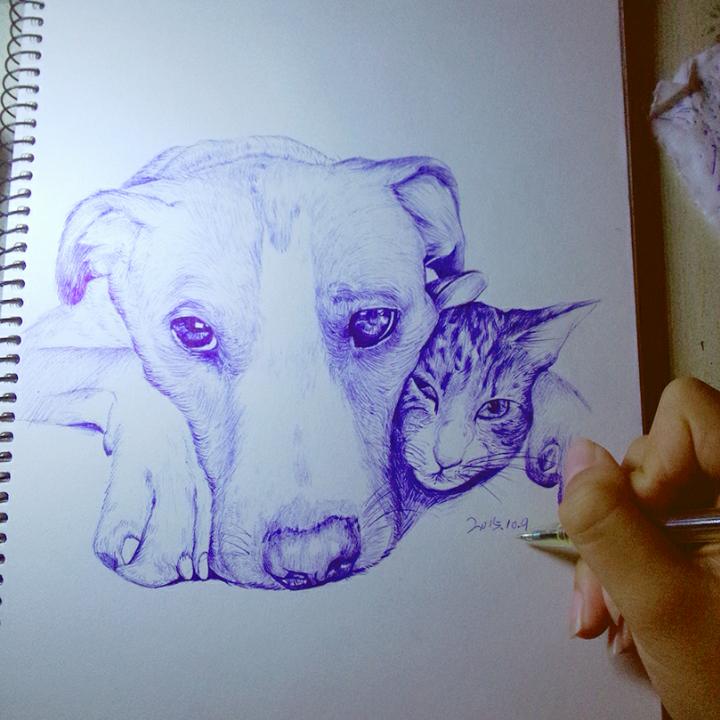 家有萌宠##圆珠笔手绘#很喜欢猫狗这么和谐的相处