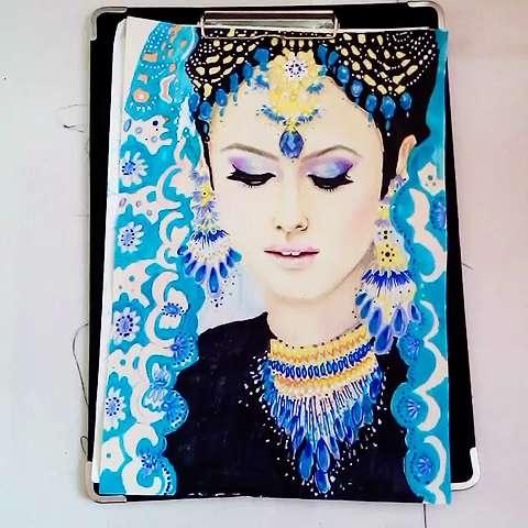 手绘画##彩铅手绘画##印度宝莱坞##印度#印度美女画的不够细致,头饰