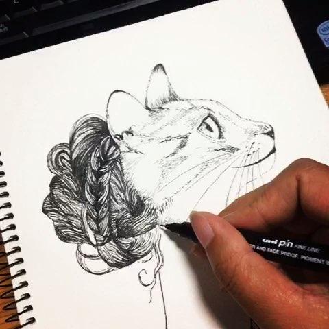 针管笔手绘猫女#手绘##画画##手绘画##针管笔