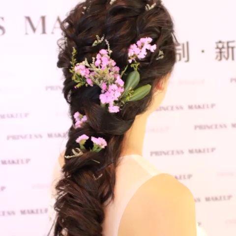 鲜花新娘发型#,#公主定制新娘工作室