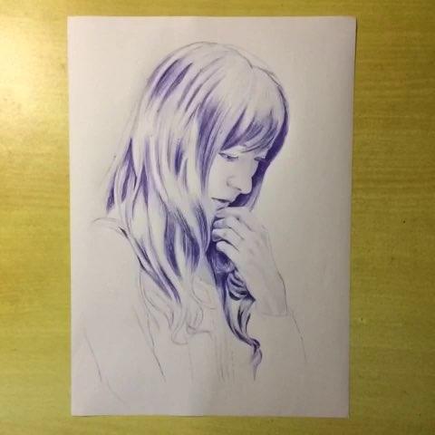 圆珠笔画##绘画##赵丽颖# - 梅莓玫的美拍