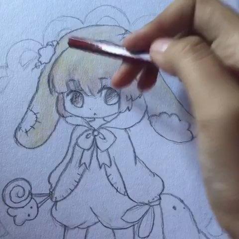 萌萌兔女孩画画