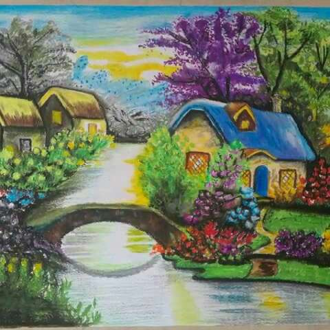 油画棒画##美丽风景画#手绘#风景油画#用的四开素描图片