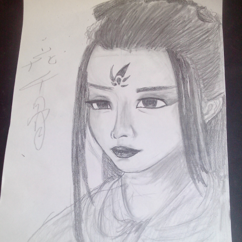 赵丽颖的素描画 人物素描画 儿童素描画