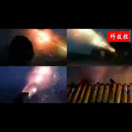 #涨姿势#国外牛人用15000支烟花做成火箭炮,场面壮观!👍👍