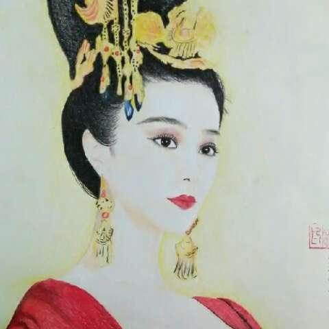 手绘画##彩铅人物绘##女神范冰冰##古装女神刘亦菲##我要上热门