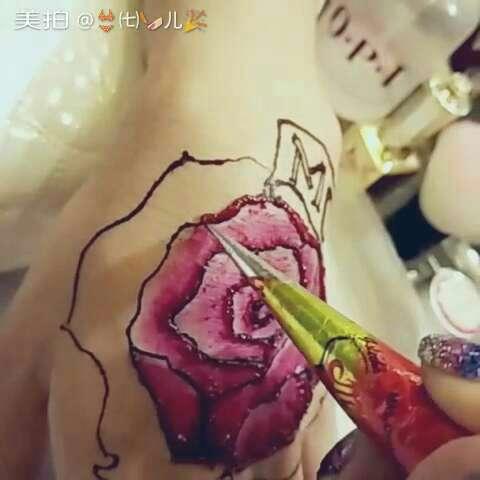 曼海蒂手绘玫瑰95~#印度海娜手绘##时尚纹身##手绘