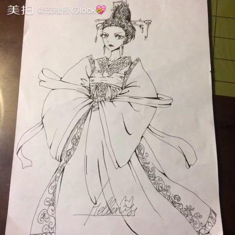 霸气##古装##手绘漫画#霸气侧露的皇后,唯美的古装