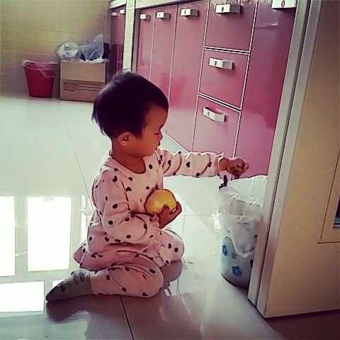 吃个梨非要坐在垃圾桶旁边吃,估计是扔皮比较方便#宝宝吃水果