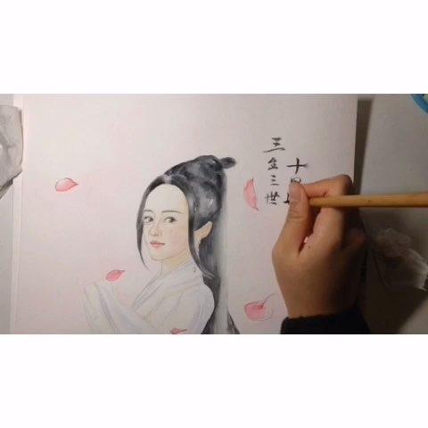 三生三世十里桃花##白浅##水彩##水彩手绘##画画
