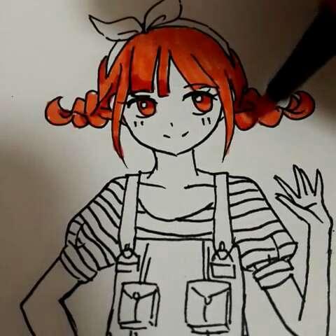 卡通美少女笔画图片