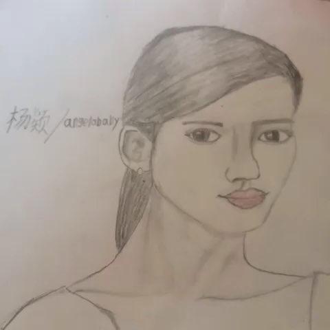 手绘动漫女孩铅笔画杨颖
