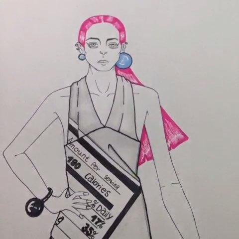 手绘时装画##手绘彩铅画##手绘作品##服装